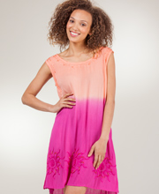 Sleeveless Coverup - Raya Sun Embroidered Beach Dress in Coral Sunglow