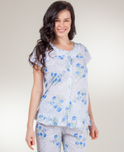 Short Sleeve Pajamas - Button Front Knit PJs in Blue Parade