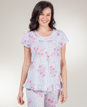 Pajama Set - Short Sleeve Button Front Knit Pajamas in Pink Parade