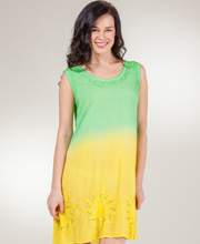Beach Dresses by Raya Sun - Sleeveless Embroidered Cover-Up in Kiwi Sunglow