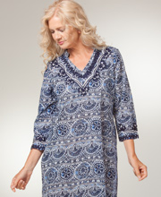 Cotton Caftan Lounger - La Cera 2/3 Sleeve Woven Caftan - Mayan Royal