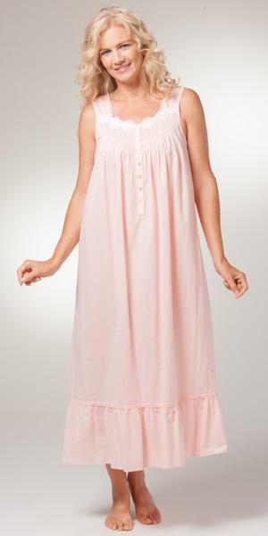 Eileen West Sleepwear Sleeveless Long Cotton Peach Nightgown