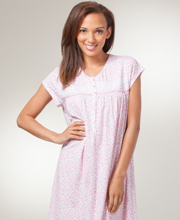 Eileen West Pima Cotton Knit Cap Sleeve Nightgown in Pasadena Pink