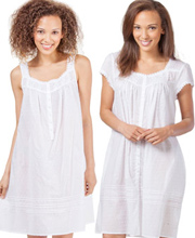 Short Peignoir Set - Eileen West Cotton Nightgown Robe Set - Sincerity