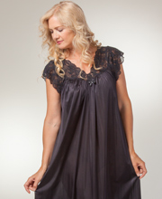 Shadowline Nightgowns - Silhouette Flutter Sleeves Long Gown in Black