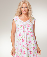 Carole Hochman Nightgowns - Long Cotton Knit V-Neck in Peony Blooms