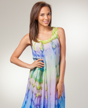 Cotton Beach Dresses - Sleeveless Beach Coverup in Eden