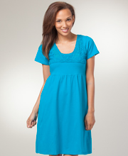 Phool Cotton Dresses - Short Sleeve Tie-Back Knit Dress in Turquoise