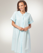 Short Seersucker Robe - Miss Elaine Round Neck Snap Front Robe In Aqua
