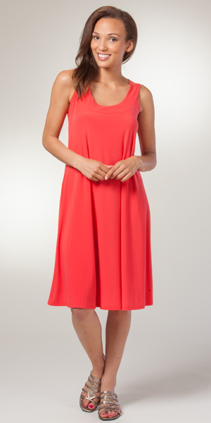 Ellen Parker Mango A-Line Sleeveless Dress - Silky Soft Dress in Coral