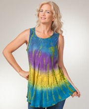 Misses Tops - Cotton One Size Sleeveless Tunic Top in Gossamer Tides