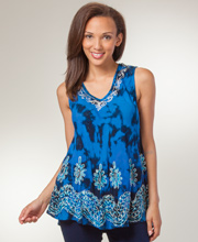 Beach Tunic Top - One Size Misses Sleeveless Top in Blue Fusion