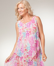 Phool Dresses - Rayon Sleeveless Long Layered Dress in Fairy Garden