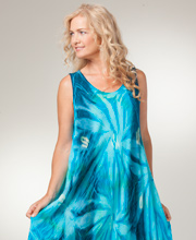 Cotton Beach Dress - Sleeveless Long One Size Dress in Aqua Burst