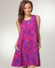 Sleeveless Eagle Ray Short Batik A-Line Dress in Cabernet Whisper or Indigo Splash