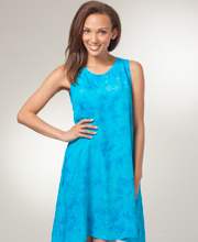 Eagle Ray Sleeveless A-Line Batik Short Dress - Refreshing Waters