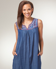 Short La Cera Dresses - Cotton Sleeveless Dress in Gladsome Blues