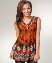 Beach Tops - Misses Sleeveless Tunic Top in Amber Fusion
