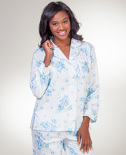 Carole Hochman Brushed Back Satin Pajamas  - Arctic Roses