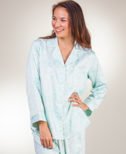 Miss Elaine Sleepwear - Brushed Back Satin Pajamas in Mint Paisley