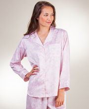 Pajamas by Miss Elaine - Brushed Back Satin in Pink Paisley