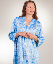 Brushed Back Satin Robe - Miss Elaine Zip Front Long Robe - Damask Blue