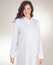 Calida Button Front Nightgowns - Cotton Knit Long Sleeve Gown in White