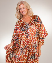 Sante Kaftan Loungers - Satin Charmeuse Caftan in Safari Supreme