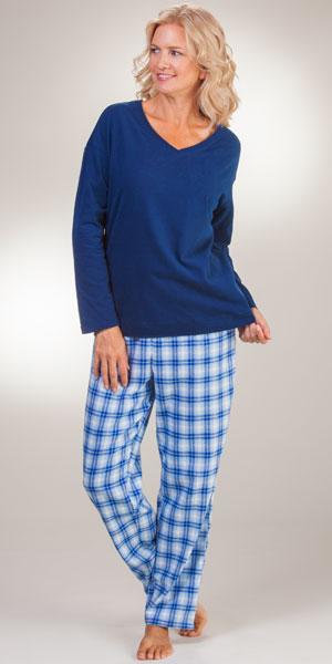 La Cera Plus Flannel PJs - Cotton Knit V-Neck Long Sleeve Navy Pajamas