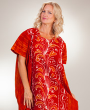 Plus Cotton Caftans - One Size Women's Kaftan Lounger in Fire Plumes