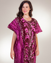 Women's Cotton Caftans - One Size Fits Most Kaftans in Purple Plumes