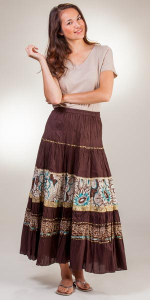 Phool Maxi Crinkle Skirt - 100% Cotton Long Brown Skirt
