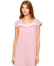 Eileen West Cotton-Rich Cap Sleeve Long Nightgown in Berry Spangle