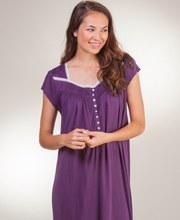 Eileen West Modal Nightgowns - Cap Sleeve Mid Knit Gown in Plum Fizzle