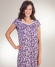 Modal Knit Eileen West Cap Sleeve Mid-Length Nightgown in Plum Blooms