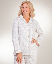 Flannel La Cera Pajama Set - Long Sleeve Cotton in Imperial Taupe