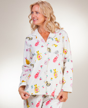 La Cera Flannel Pajamas - Long Sleeve Cotton PJs in Porcelain Cats