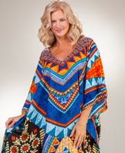 Women's Rayon Caftans - V-Neck Fringed One Size Sante Kaftan - Country Song