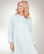 Brushed Back Satin Miss Elaine Long Smocked Nightgown in Mint