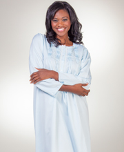 Brushed Back Satin Miss Elaine Pintucked Long Nightgowns in Blue