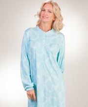 Calida Knit Nightgowns - Button Front Long Sleeve Cotton in Aqua Paisley
