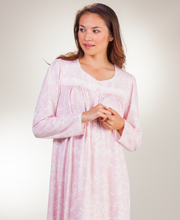 Aria Nightgowns - 100% Cotton Knit Long Sleeve Gown In Festive Paisley or Bouquet