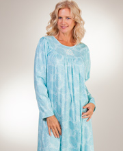 Calida Knit Nightgowns - Long Sleeve Cotton Nightgown in Aqua Paisley