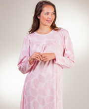 Calida Sleepwear - Cotton Knit Long Sleeve Nightgown in Pink Paisley