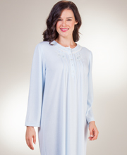 Miss Elaine Cuddleknit Pintucked Round Neck Long Nightgown in Blue