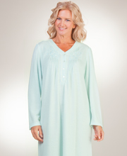 Miss Elaine Nightgown - Cuddleknit V-Neck Long Pintucked Gown in Mint