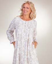 Plus Nightgowns - La Cera Cotton Flannel Pintucked Gown in Imperial Taupe