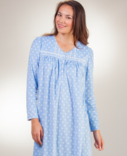 Fleece Nightgowns - Aria Long Sleeve Ballet Gown in Sky Dots