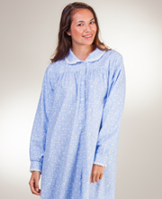 Lanz Flannel Peter Pan Collar Ballet Length Nightgown In Country Life