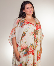 Phool Plus Dresses - Long Poly V-Neck Caftan Dress in Artisan Floral